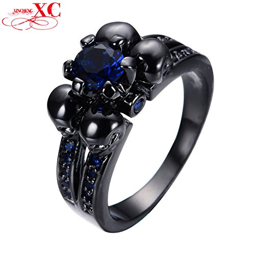 GemMart Jewelry Vintage Black Skull Jewelry Blue Women Men CZ Ring Anel Aneis Black Gold Filled Zircon Ring for Halloween RB0332
