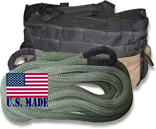 (Full-Size Truck) U.S. gemacht 1-1/8 Inch X 30 Ft Military Od Green Safe-T-Linie Kinetic Snatch Rope mit Heavy-Duty Carry Bag