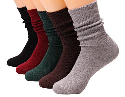 5 Pairs Women Cotton Crew Socks Soft Knit Wool Blend Casual Socks 5-9.5 WS99 (5Pairs)