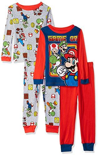 Super Mario Brothers Boys Nintendo 4-Piece Cotton Pajama Set