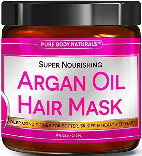 [Premium Argan Oil Hair Mask - Hair Treatment Therapy 8 oz, Deep Conditioner for Damaged & Dry Hair, Heals & Restructures Hair Shaft & Growth, Detoxifies Scalp & Nourishes] (Nanoworks Restorative Treatment)