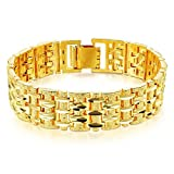 18K Gold Plated Bracelet for Men Charm Link Chain Clasp Bangle Jewelry