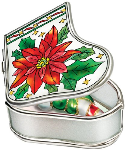 Amia Handpainted Glass Poinsettia Stocking Jewelry Box, 3-1/4-Inch by 2-3/4-Inch by 1-1/4-Inch