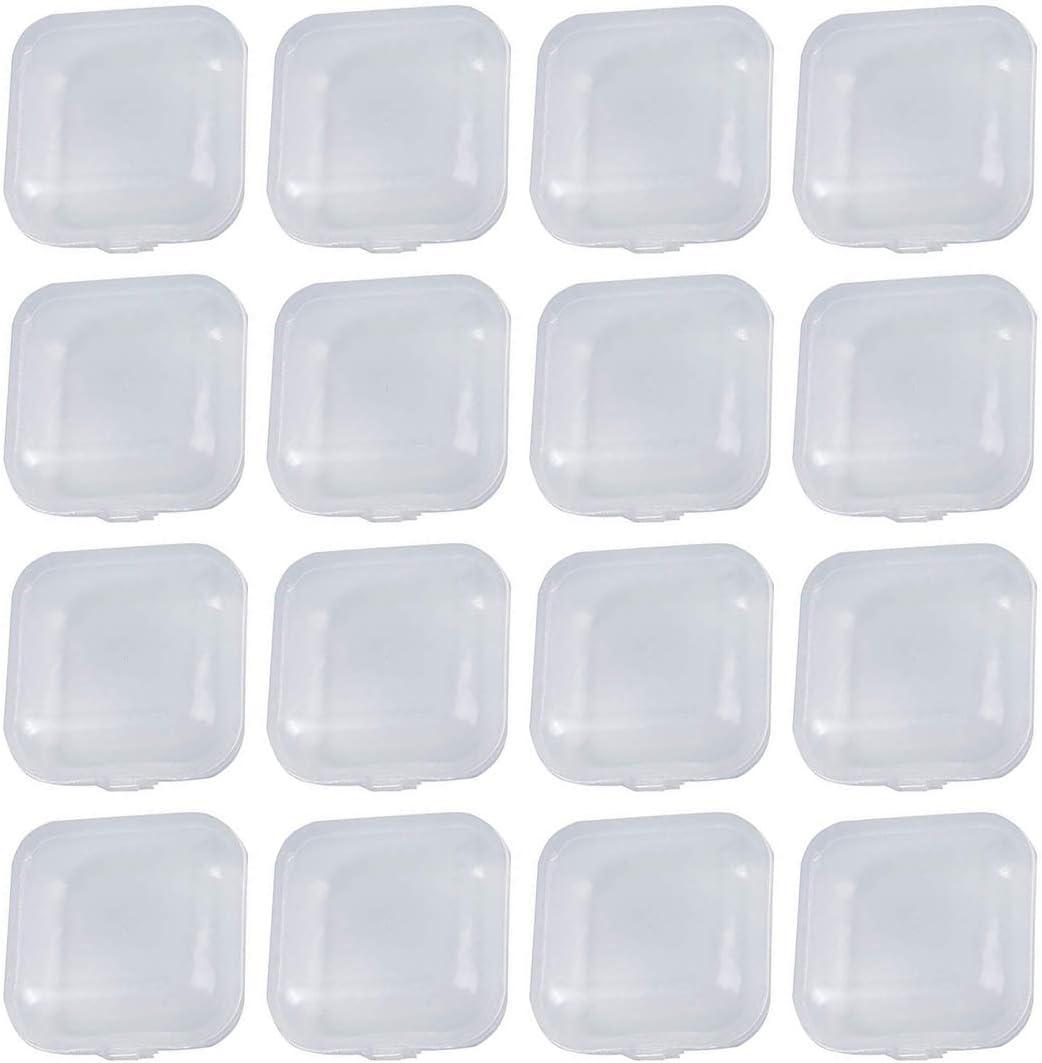 Caja de Contenedores de Almacenamiento de Plastico Transparente , 20 piezas cuadradas Mini Joyero