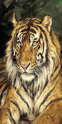 A Reclining Tiger by GEZA Vastagh Animal Predator cat Kitten Tile Mural Kitchen Bathroom Wall Backsplash Behind Stove Range Sink Splashback 2x4 4.25