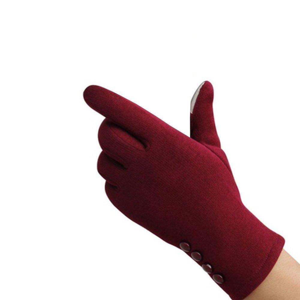 Tiptiper Guanti invernali, Guanti invernali da donna Sport invernali Guanti caldi Touch Screen Handwear Cotton Full Finger (rosso)