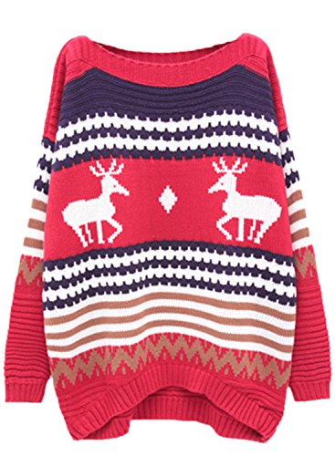 AZBRO Mujer Navidad Suéter Tejido Estampado de Renos Pullover Azul 4