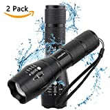 Tactical Flashlight,Ustopfire 2 Pack XM-L2 Ultra Bright 1200 LM LED Taclight As Seen On Tv with Adjustable Focus and 5 Modes,High Lumens Waterproof Handheld Flash Light for Camping Hiking Emergency