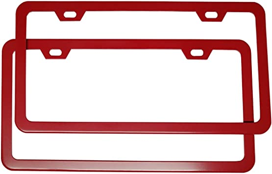 Poinsettia Red Pair Deselen Blue License Plate Frame Stainless Steel with 4 Holes Screw Cap