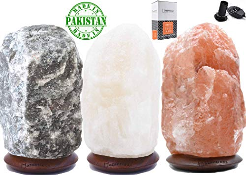 Tri-Pack, Rare Caviar Gray, Pearl White, Coral Pink Himalayan Salt Lamp (5-8 lbs)- MADE IN PAKISTAN, hymalain salt lamps, himilian salt lamp,Himilian Sea Salt Crystal Light with Dimmer Switch