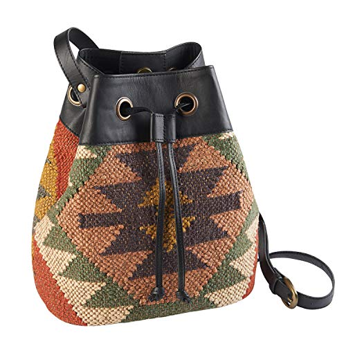 Drawstring Women's Purse Wool Bucket Hobo Handbag Catalog Bag Style Classics amp; Leather Kilim Hwtgt5xqWP