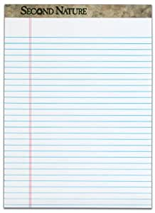 TOPS Second Nature 100% Recycled Legal Pad, 8-1/2 x 11-3/4 Inches, Perforated, White, Legal/Wide Rule, 50 Sheets per Pad, 12 Pads per Pack (74880)