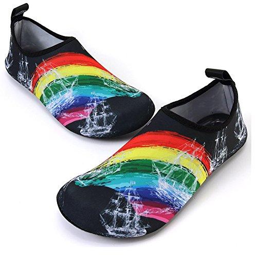 FCKEE Wasserschuhe Aqua Schuhe Aqua Socken Slip-On Barefoot Leichte Quick-Dry Dauerhafte Sohle Urlaub Mutifuntional für Beach Pool Surfen Yoga Frauen Männer Bl. Segeln