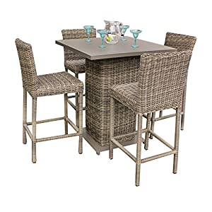 TK Classics CAPECOD-PUB-KIT-4 5 Piece Cape Cod Pub Table Set with Barstools Outdoor Wicker Patio Furniture