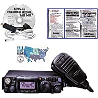 Yaesu FT-817ND All Band Ultra Compact Portable Amateur Transceiver, RT Systems Programming Software with Cable, Nifty! mobile radio reference guide and Ham Guides TM Quick Reference Card Bundle