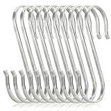 iKKEGOL 10 Pack of Premium Flat S Shaped Hooks Kitchen Pot Pan Hanger Clothes Holder Brushed Stainless Steel Metal (2, X-Large)