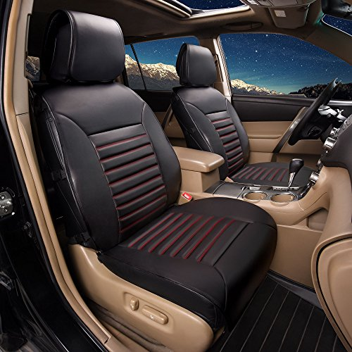 FH Group PU206102 Multifunctional Quilted Leather Seat Cushions Pair Set, Black w. Red Trim Color- Fit Most Car, Truck, Suv, or Van (Malibu Trim Traditional)