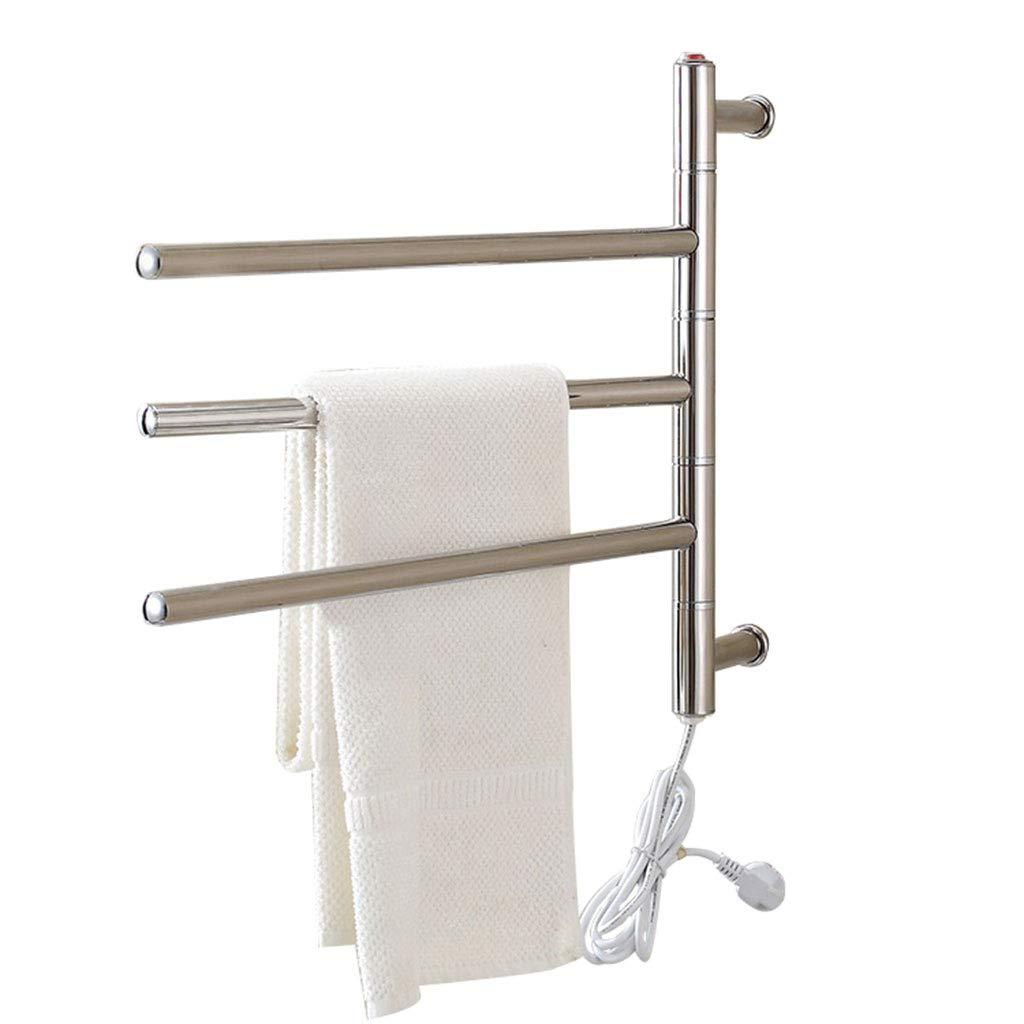 Stainless Steel Heated Towel Rail, 3-Bar Rotatable Towel Warmer, Wall-Mounted Electric Towel Drying Rack, Hardwired and Plug in, IP56 Waterproof by Hermsi