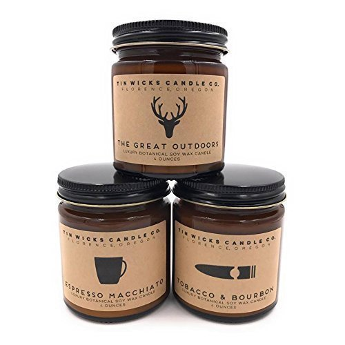 The Men's Collection Candle Gift Set || 3 - 4oz. Artisan Botanical Soy Wax Candle Jars || Tin Wicks Candle Co. || Father's Day Gift || Man Candles || Candle Gift Set