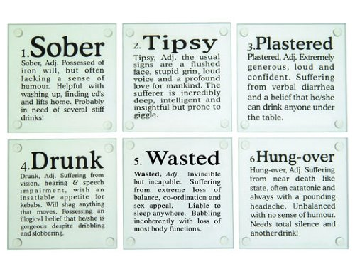Drunk Glass Coasters - Set of 6