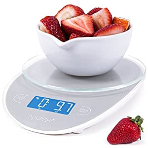 """Nourish Digital Precision Kitchen Food Scale """"Version 2.0"""" Large Single Sensor Glass Top and Backlit Display, Food Weight in 0.5 grams, oz, ml"""