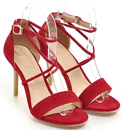 Femme Rouge Peep Lanière Sexy Aisun Toe Sandales FzwqOFYd