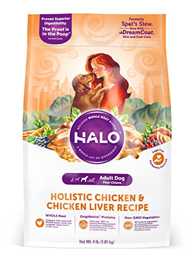 Halo Natural Dry Dog Food, Chicken & Chicken Liver Recipe, 4-Pound Bag