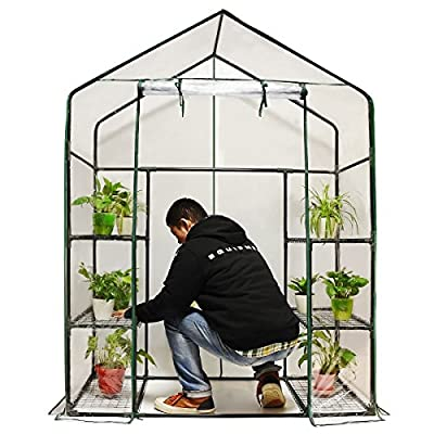 "Quictent 102lbs Max Weight Capacity 100% Waterproof Mini Walk-In Greenhouse 56""x29""x77"" Portable Garden Green House 6 shelves"