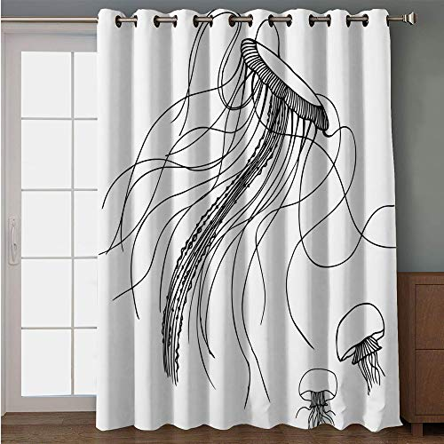Blackout Patio Door Curtain,Nautical Decor,Jellyfish Sketch Pattern Aquarium Ocean Underwater Life Oceanography Art Print Decorative,for Sliding & Patio Doors, 102