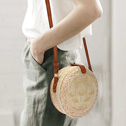 Handmade Crossbody Weave Bags Bag Bamboo Shoulder Summer Bag iShine Bags Round iShine Women Beach qxYwgx0XA