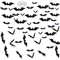 Gooday 148 PCS Halloween Bat Decorations, Black PVC 3D Scary Bats Wall Window Decal Stickers Realistic Spooky Hanging Bats for Indoor Outdoor Halloween Eve Decor Home Window Decoration