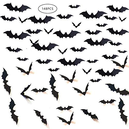 Gooday 148 PCS Halloween Bat Decorations, Black PVC 3D Scary Bats Wall Window Decal Stickers Realistic Spooky Hanging Bats for Indoor Outdoor Halloween Eve Decor Home Window ()