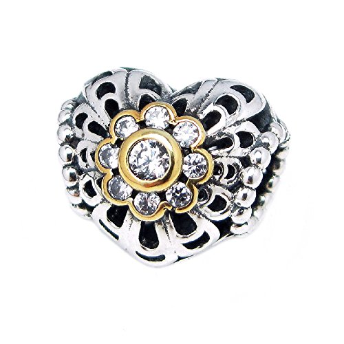 925 Sterling Silver Heart Gold-tone Bali Flower Cz European Bead Charm - Crystal Flower Slide Charm