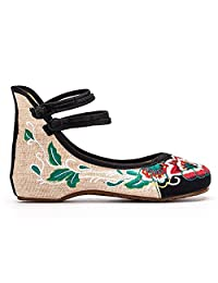ZYZF Women Chinese Flower Embroidered Oxfords Rubber Sole Mary Jane Flat Shoes
