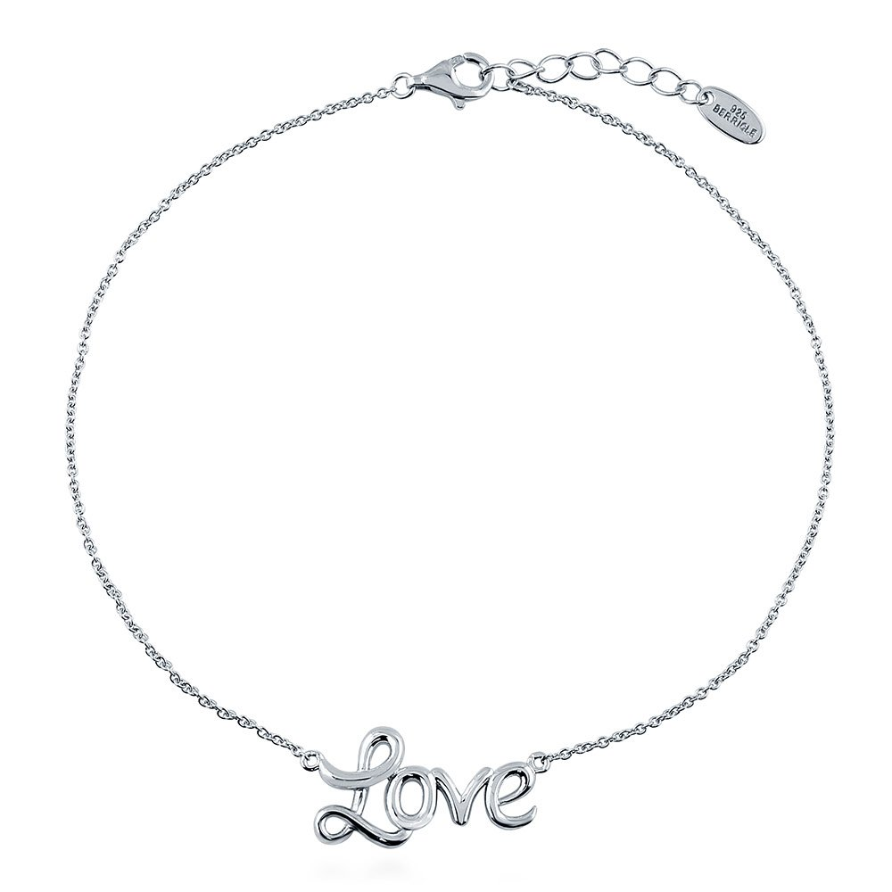 BERRICLE Rhodium Plated Sterling Silver Love Fashion Anklet 9.5''+1'' Extender by BERRICLE (Image #1)