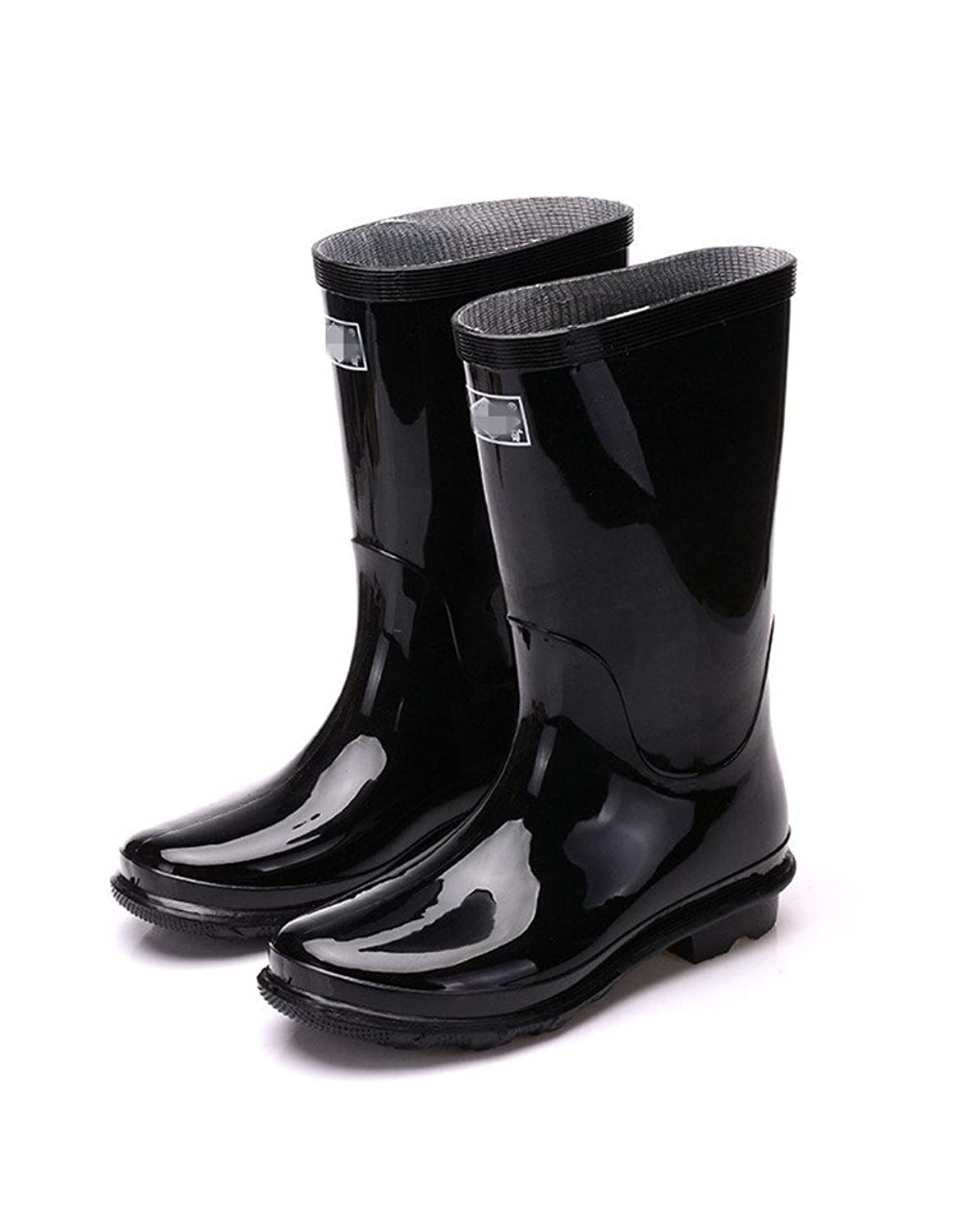 Always Pretty Tall Gloss Black Knee-High Rubber Rain Boot Safety Shoes