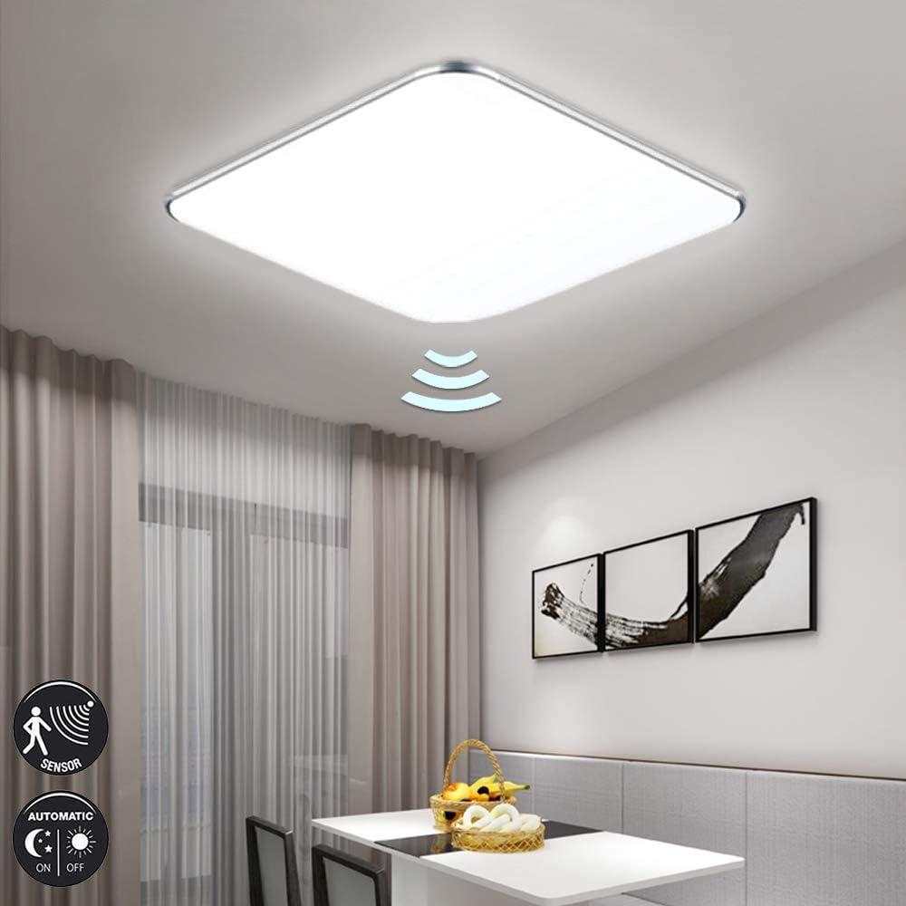 Fscm 24W LED Deckenleuchte Lampe mit Sensor Bewegungsmelder Modern Deckenlampe Kaltwei/ß 6000-6500K Deckenleuchten f/ür Flur Wohnzimmer Schlafzimmer K/üche PVC Abdeckung Alu Rahmen Platz 38x38x10cm IP44