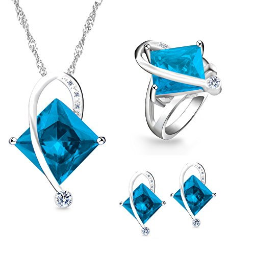 Uloveido Unique White Gold Plated Large Square Simulated Aquanmarine Necklace Pierced Earrings Bypass Rings with Clear Cubic Zirconia for Women (Blue, Size 6) T295