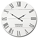 Cheap WHITE RUSTIC FARMHOUSE WALL CLOCK | 21-INCH VINTAGE WOODEN ANTIQUE STYLE DECOR