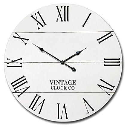 Amazon Com White Rustic Farmhouse Wall Clock 21 Inch