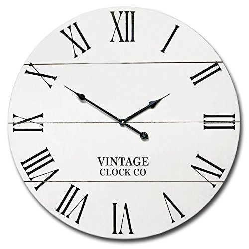 WHITE RUSTIC FARMHOUSE WALL CLOCK | 21INCH VINTAGE WOODEN ANTIQUE STYLE DECOR