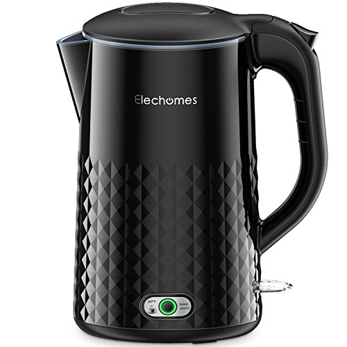 Elechomes 1.7L Electric Kettle Water Heater with Smart Keep Warm Function, Stainless Steel Interior, BPA-Free Cool Touch Exterior and Vacuum Layer, Black