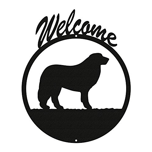 GREAT PYRENEES Black Metal Welcome Sign (Great Pyrenees Welcome Sign)