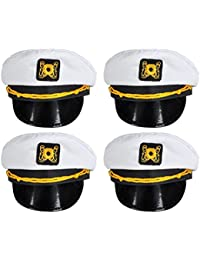 White Nautical Captain Sailing Hats by