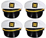 Bottles N Bags White Nautical Captain Sailing Hats (4 Pack) Great Cruise Accessory by