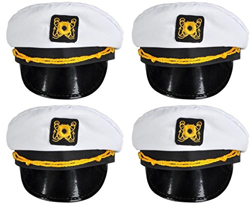 Great Classic Toy - Bottles N Bags White Nautical Captain Sailing Hats (4 Pack) Great Cruise Accessory by