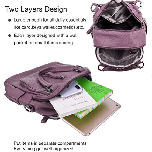 School Bags Purple Small Fashion Girls Vintage for Women Casual Daypack Leather Women Backpack PU Travel Handbags YIMOJI 7wzFPaq