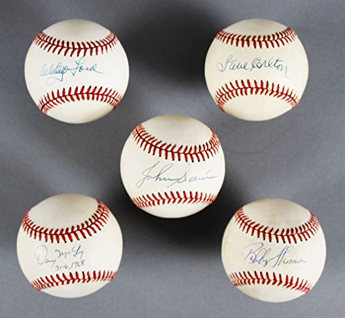 (Memorabilia.Expert MLB Pitchers Signed Baseball Lot (5) - Whitey Ford, Steve Carlton etc. - JSA)