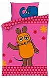Aminata Kids - süße Mädchen-Lizenz-Kinder-Bettwäsche Sendung mit der Maus 100x135 cm hochwertige Baumwolle - Bettwäsche-Kinder mit dem kleinen blauen Elefant rosa pink
