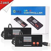 kiwitatá Classic USB Joystick controller Retro NES/FC Format, Raspberry Pi /RetroPi,PC/MAC (Black/Red Keys 2 Pack)